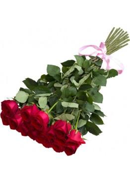19 красных роз высотой 70 см.